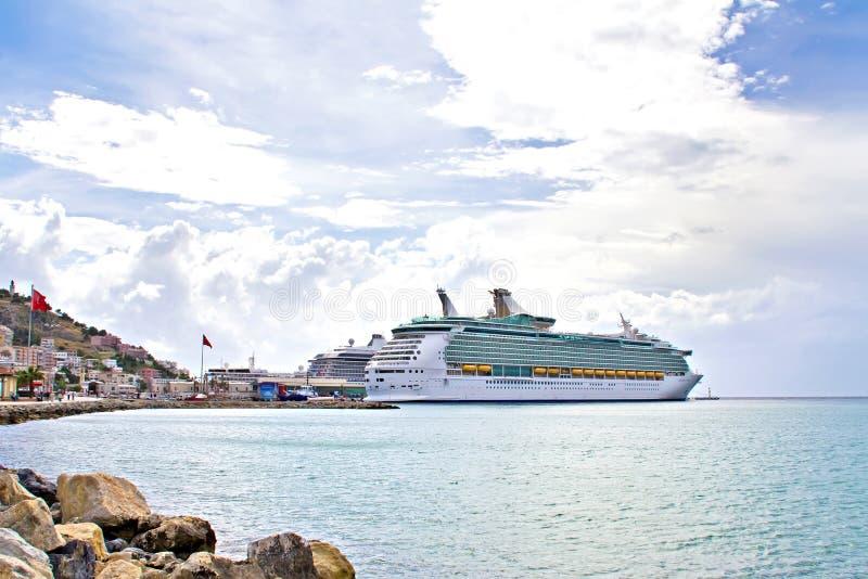Cruise liners in the port of Kusadasi stock photo