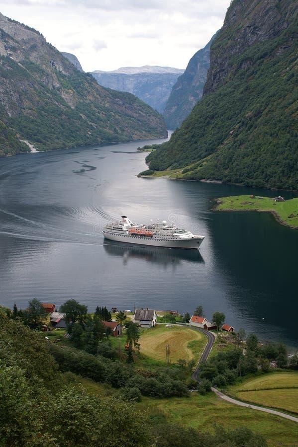 Cruise at Naeroyfjord, Norway stock photography