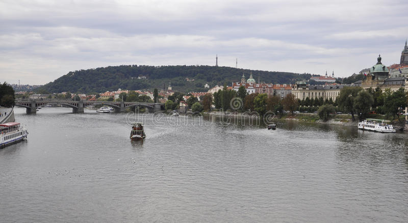 Cruise over Vltava river and Charles bridge in Prague Czech Republic stock image