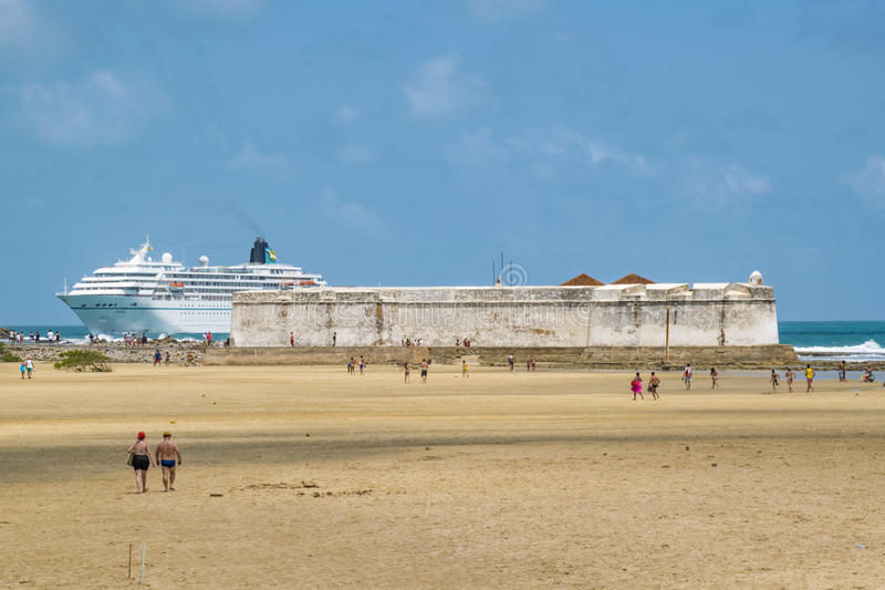 Cruise reaching the coast of Beach Natal, Brazil royalty free stock images