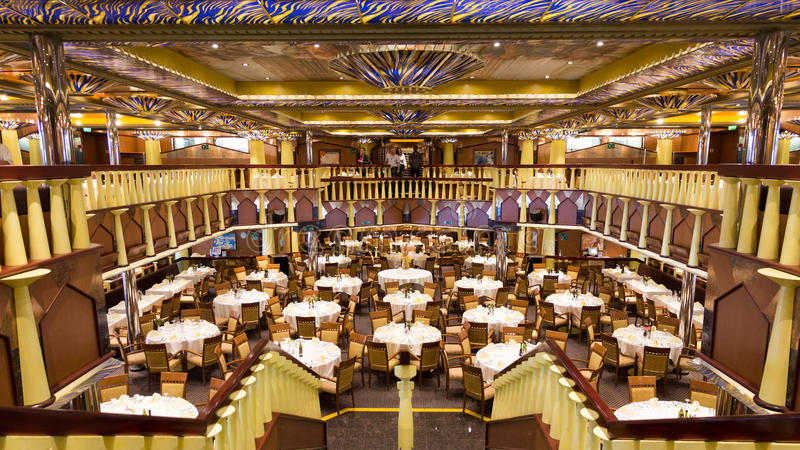 Cruise restaurant stock photo
