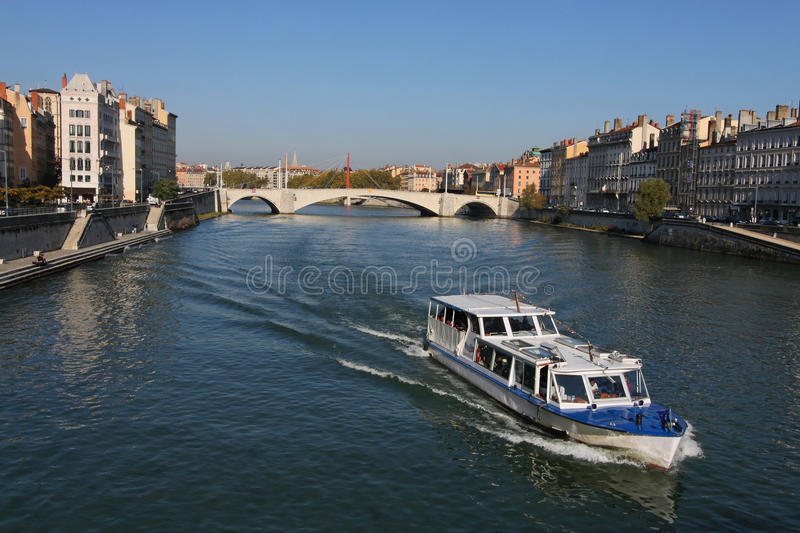 Cruise on Saone River. Saone is a river of eastern France. It is a right tributary of the River Rhône stock image