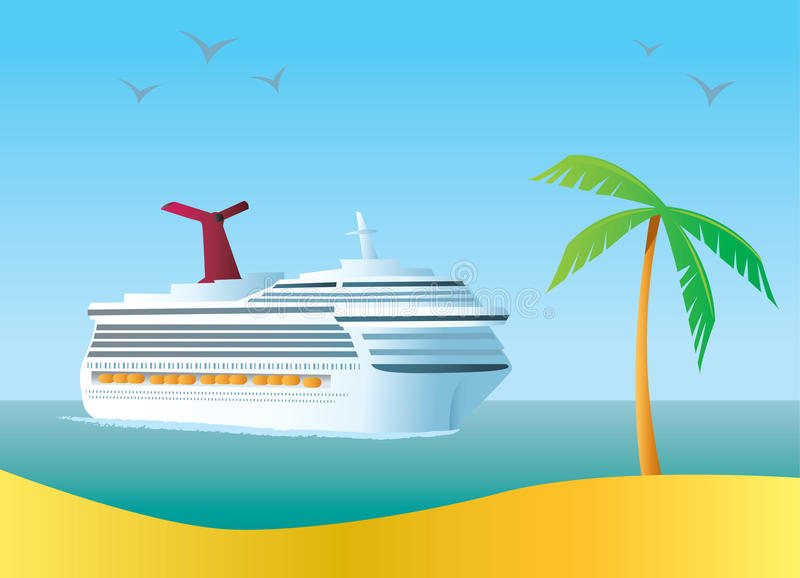 Cruise Ship. Illustration of a Cruise Ship coming in to a tropical destination
