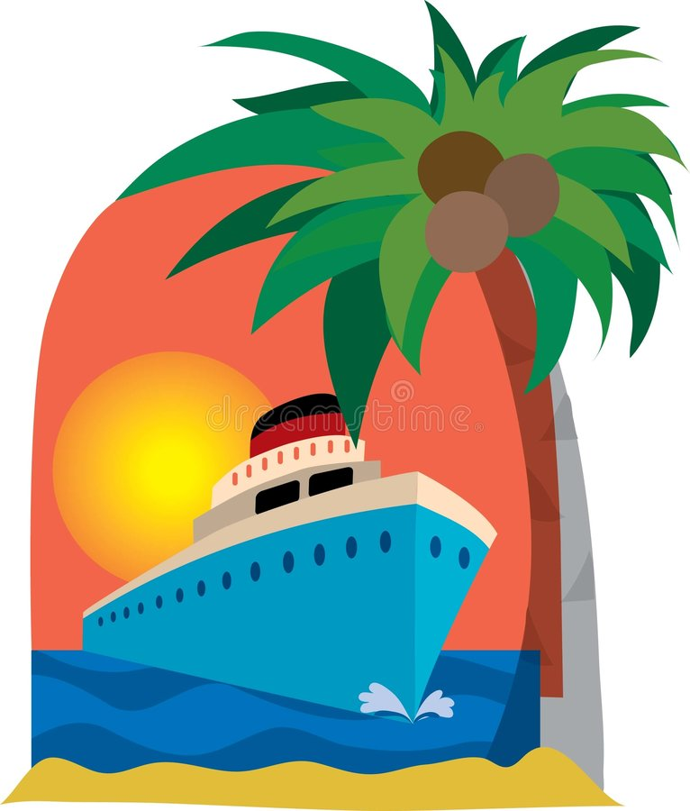 Cruise ship. And palm tree on a sunset background