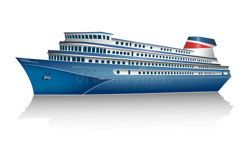 Cruise ship. On white background. Vector illustration