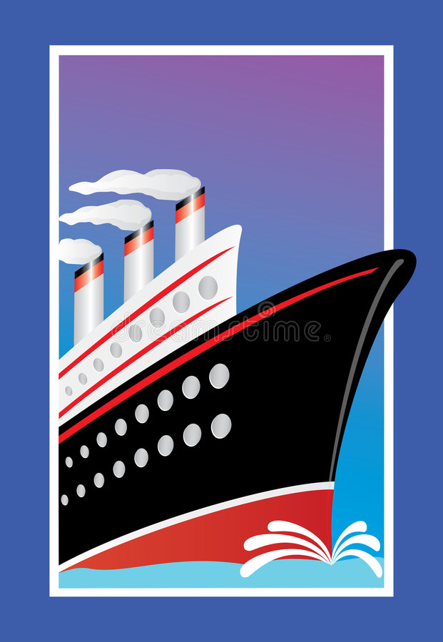 Cruise Ship. Sailing across the sea. Colors can easily be changed. Just enlarge the rectangles if you need more copy space