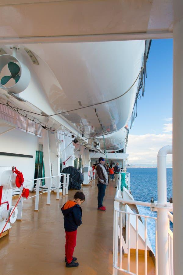The cruise ship on the Aegean sea royalty free stock photos