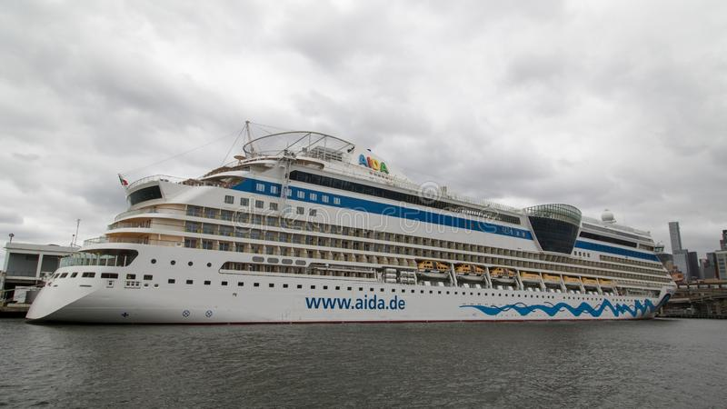 Cruise ship Aida Diva in Hudson River New York stock photo
