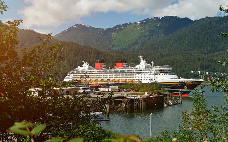 Cruise ship in Alaska port royalty free stock images