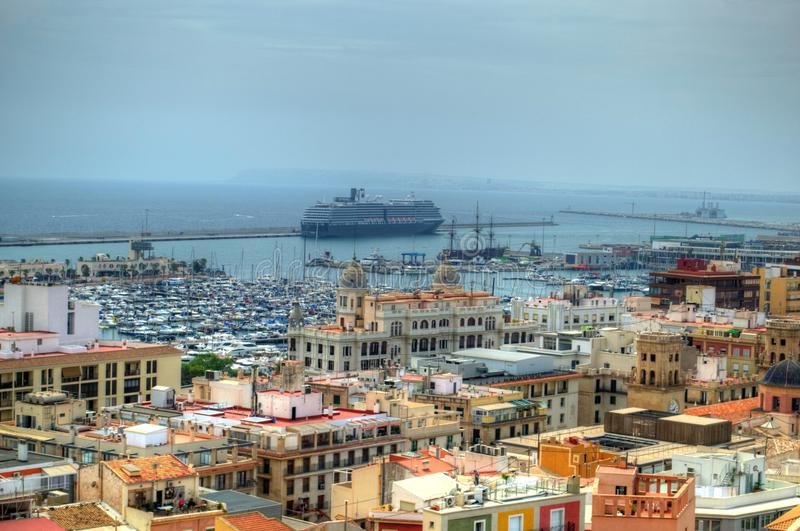 Cruise ship in Alicante, Spain royalty free stock photography