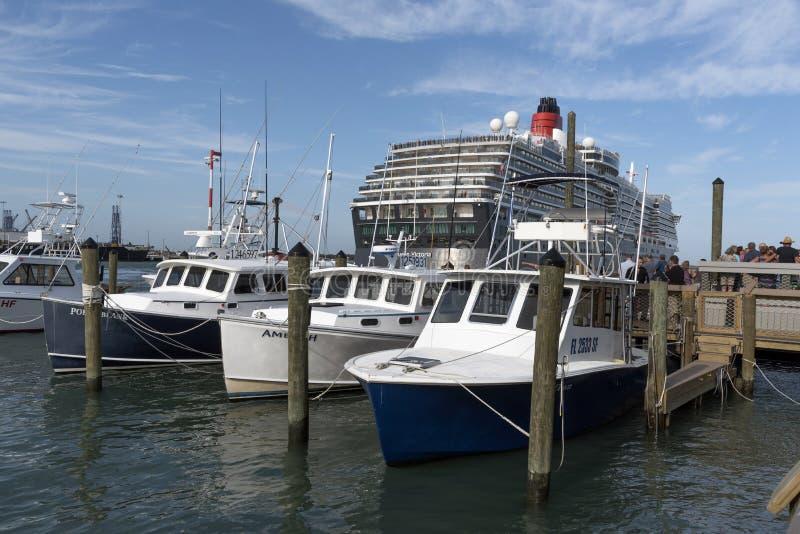Cruise ship alongside Port Canaveral Florida USA. The cruise ship Queen Victoria alongside in Port Canaveral Florida USA. April 2017 stock image