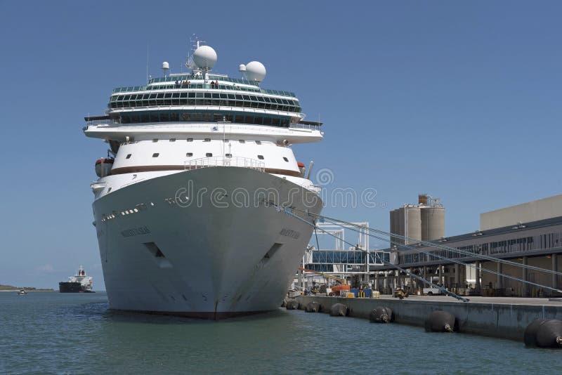 Cruise ship alongside Port Canaveral Passenger Terminal 1 Florida USA. Cruise ship Majesty of the Seas alongside the Passenger Cruise Terminal 1 at Port stock photos
