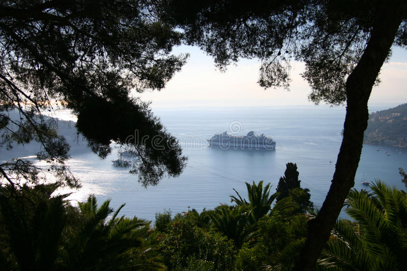Cruise Ship at anchor in Mediterranean harbour, Fr