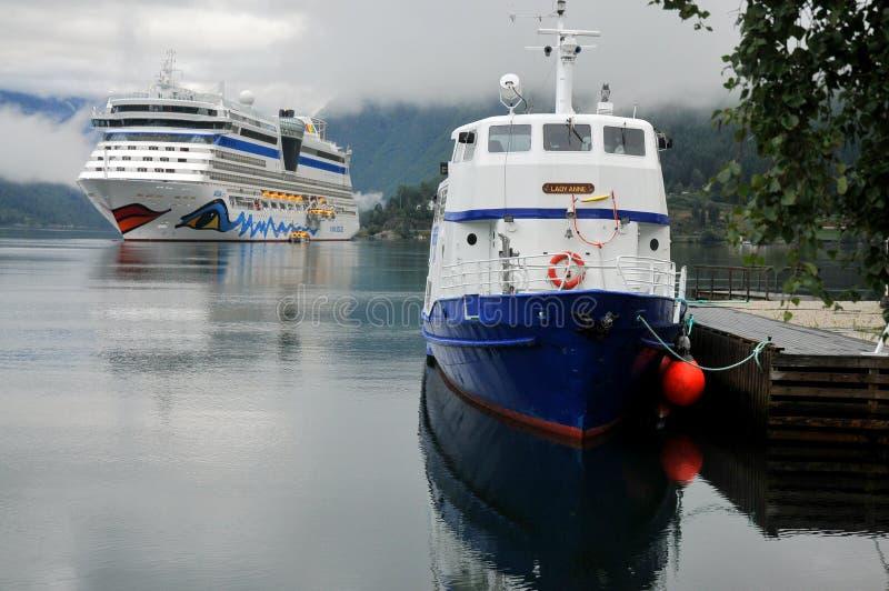 Cruise ship anchored in Ulwik fjord