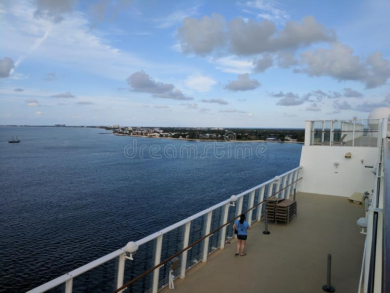 Cruise ship approaching Cayman Islands stock image