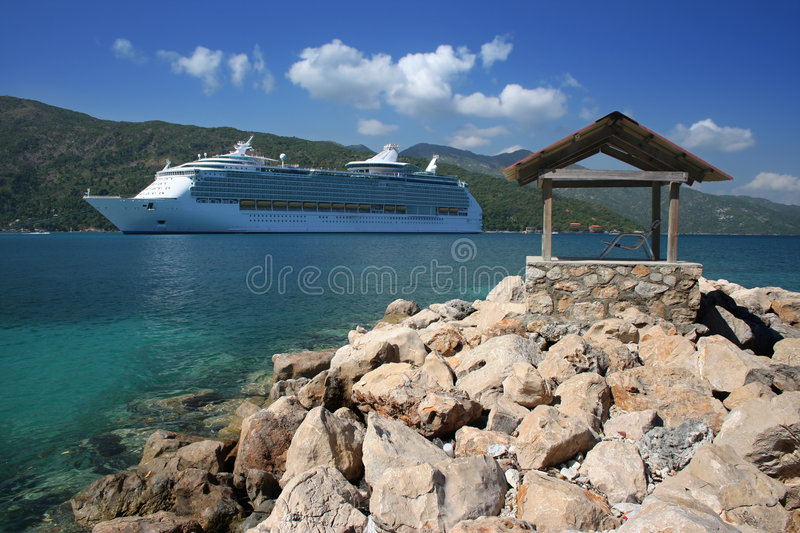 Cruise Ship Approaching Land royalty free stock photo