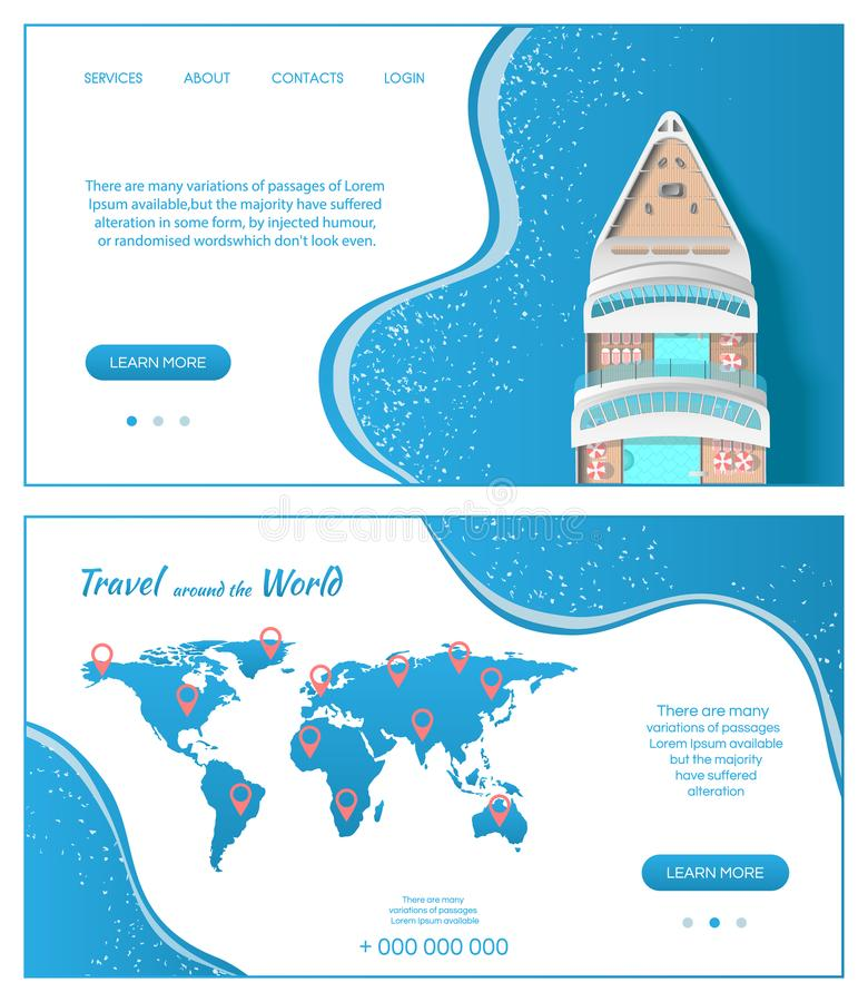 Cruise ship around the world. Travel and Tourism concept. Business card template. Vector banner illustration vector illustration