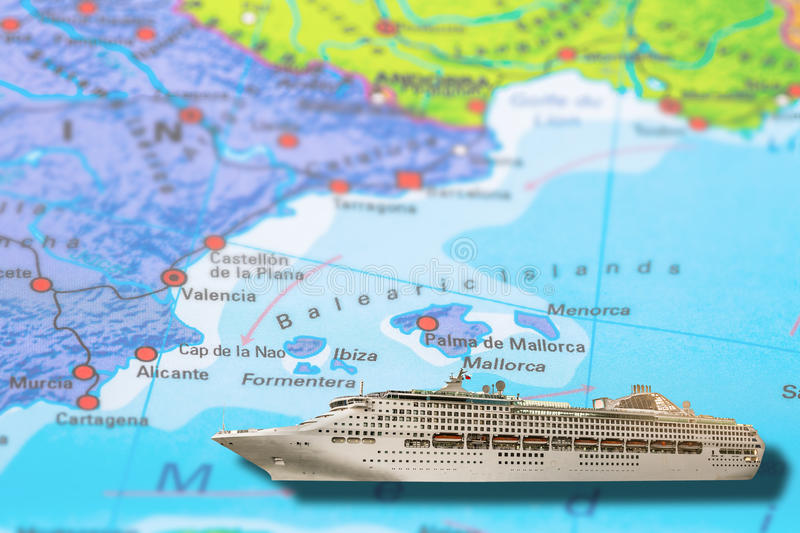 Cruise Ship Balearic Islands Stock Image Image of geographical