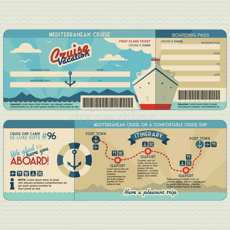 Cruise ship boarding pass design template royalty free illustration