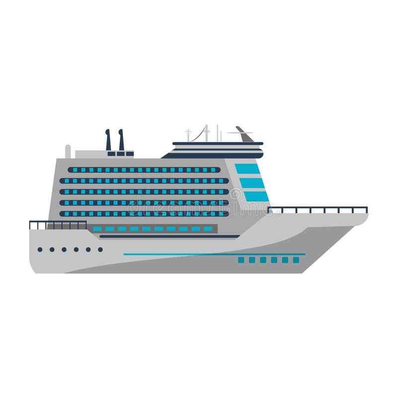 Cruise Ship Boat Symbol Isolated Blue Lines Stock Vector
