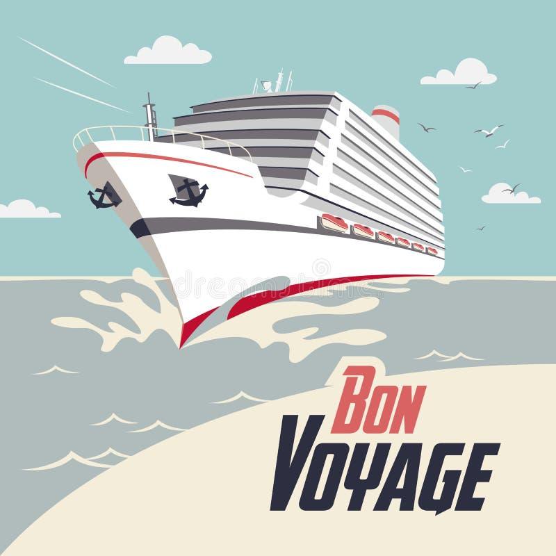 Cruise ship bon voyage illustration. Cruise ship illustration with Bon Voyage headline royalty free illustration
