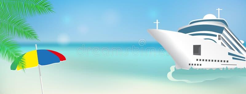 Cruise ship Bon Voyage. Poster or banner template Transatlantic liner ship. Vector. Illustration stock illustration