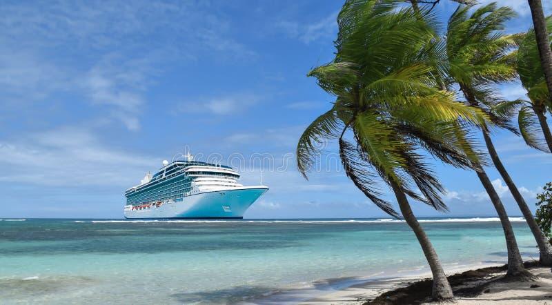 Cruise ship in the Caribbean stock photos
