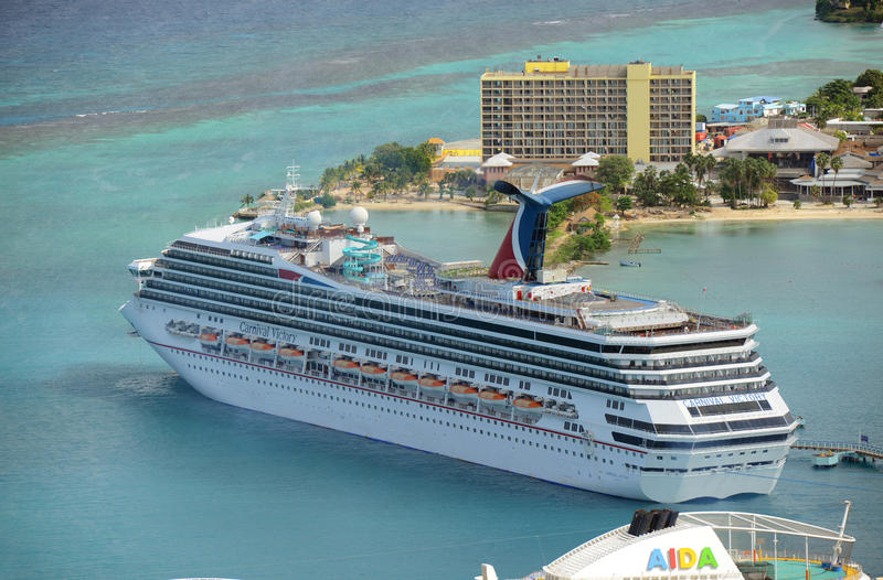 Cruise Ship Carnival Victory in Jamaica stock photos
