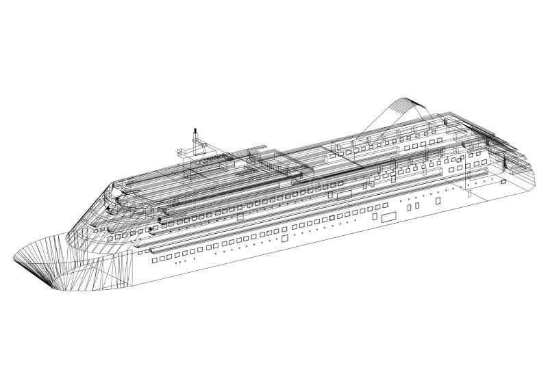 Cruise ship Concept Architect Blueprint - isolated vector illustration