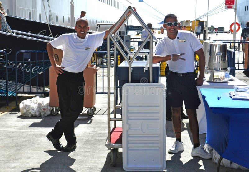 Cruise ship crew. Members at work royalty free stock photos