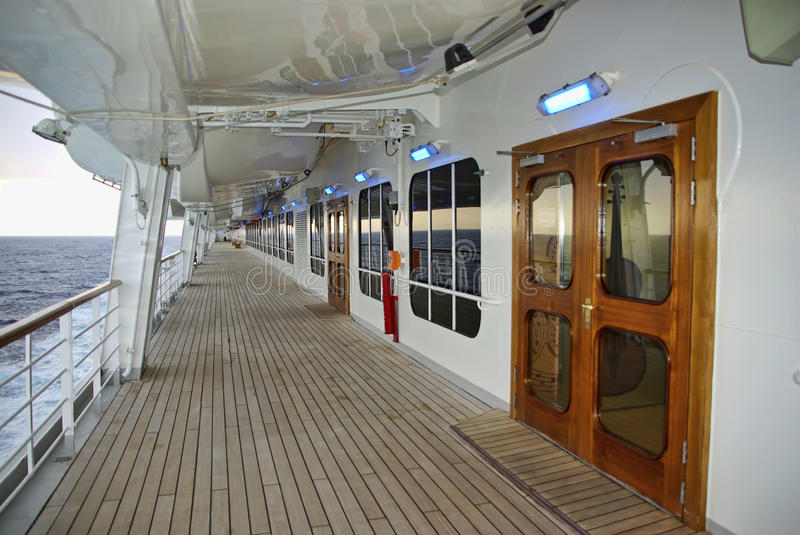 Cruise ship Deck. Afternoon at the corridor of a big cruise ship deck royalty free stock image