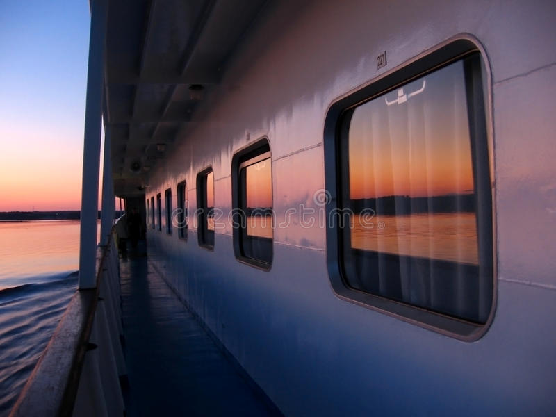 Cruise ship deck in the evening stock images