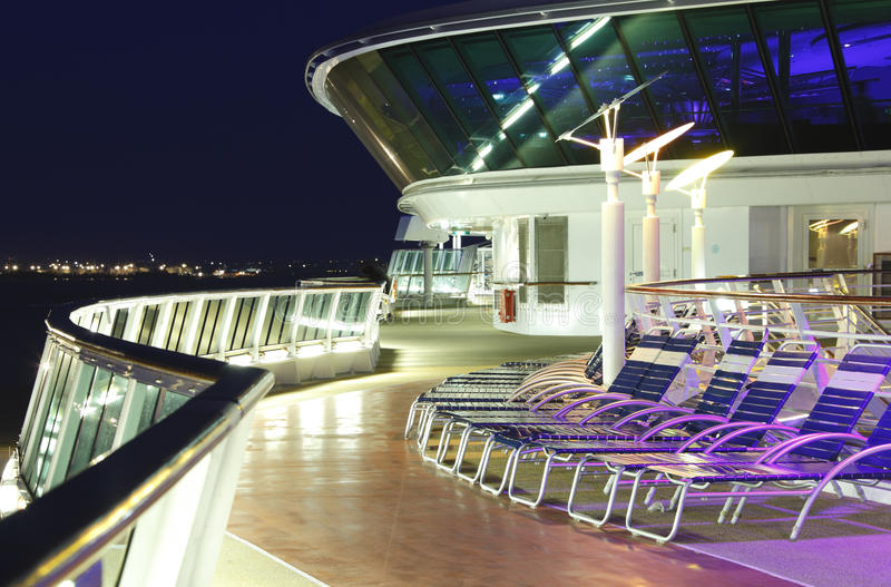 Cruise ship deck at night royalty free stock images