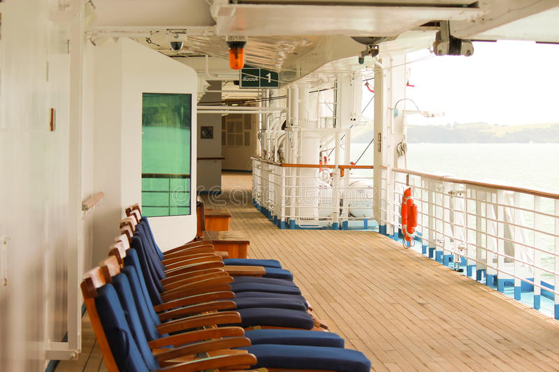 Cruise ship deck. Picture of a cruise ship deck with longchairs stock photo