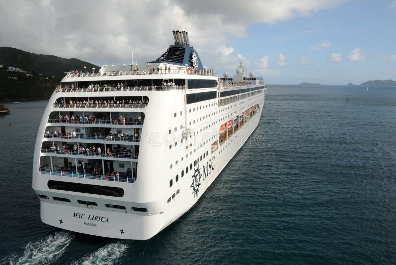 Cruise Ship  Departing Caribbean Island Editorial Stock Photo