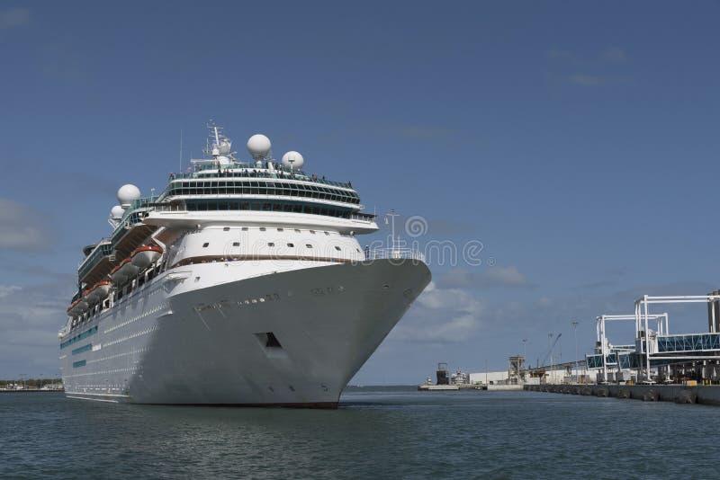 Cruise ship departing Port Canaveral Florida USA. Port Canaveral Florida USA. April 2017. Cruise ship departing this east Florida port royalty free stock photo