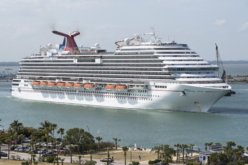 Cruise ship depaRTING Port Canaveral Florida USA. Cruise ship Carnival Magic departing Port Canaveral Florida USA. April 2017 stock photos