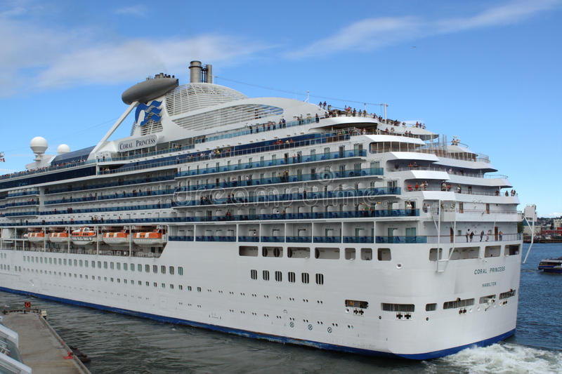 Cruise Ship Departure, The Coral Princess stock images
