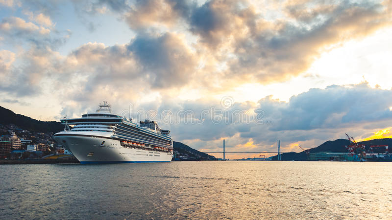 Cruise ship 'Diamond Princess' in the port of Nagasaki royalty free stock images