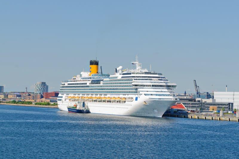 Cruise ship at dock stock image
