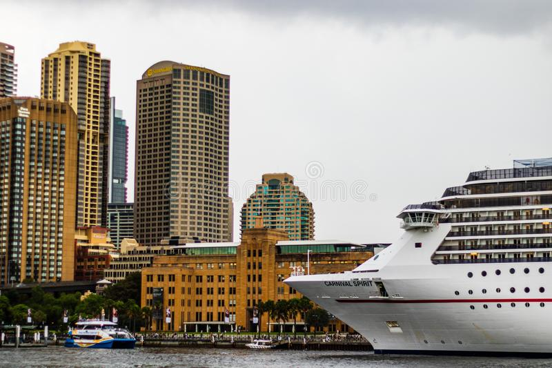 Cruise ship docked near Opera House in Sydney, Australia, 2019 royalty free stock photography