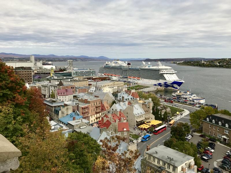 Cruise ship docked by the old port of Québec City, October 6,2018. Visitors from the cruise ship come to enjoy the fall color festival in old town Québec royalty free stock photos