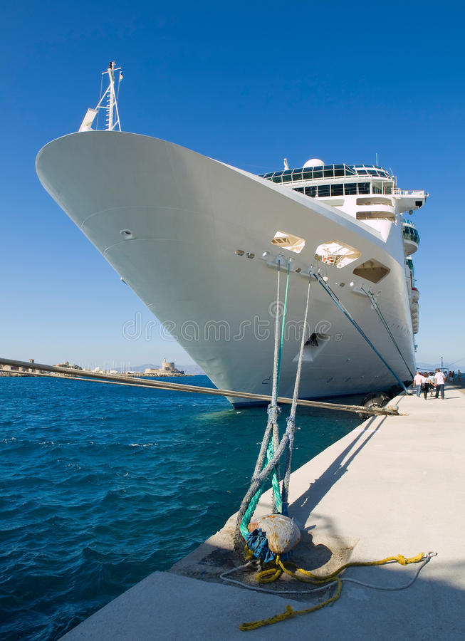 Cruise Ship Docked In The Port Royalty Free Stock Photos