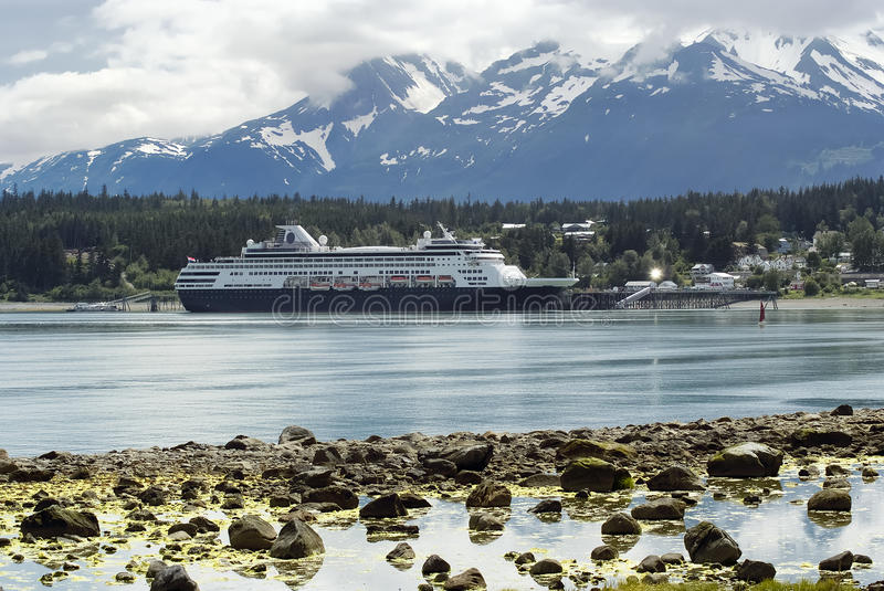 Cruise ship docked at the port of Haines, Alaska royalty free stock images