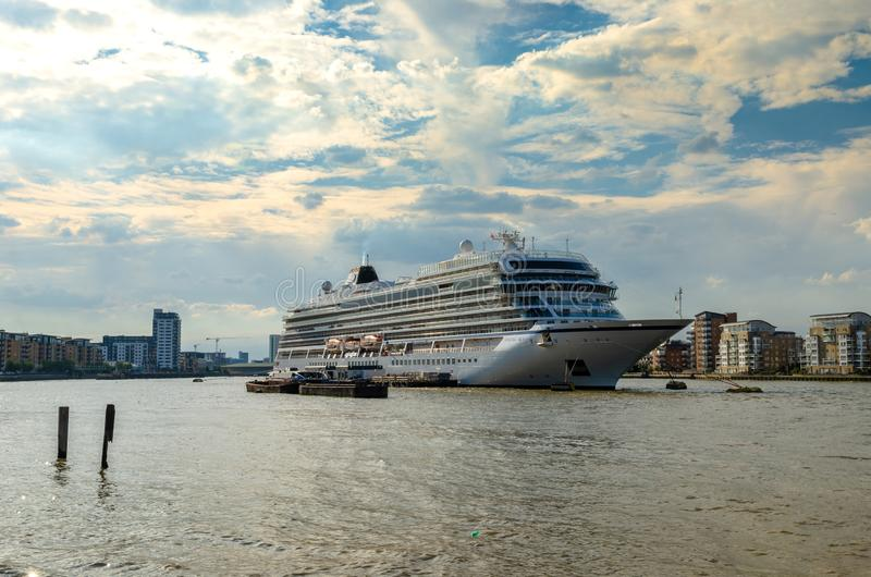 Cruise ship docked on the River Thames in London stock photos