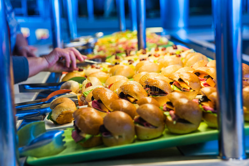 Cruise ship food buffet. Food buffet in cruise ship at the oceanview cafe. Sandwish station stock photo
