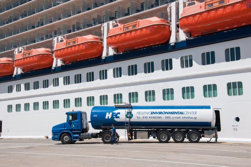 Cruise ship fuel stock photography