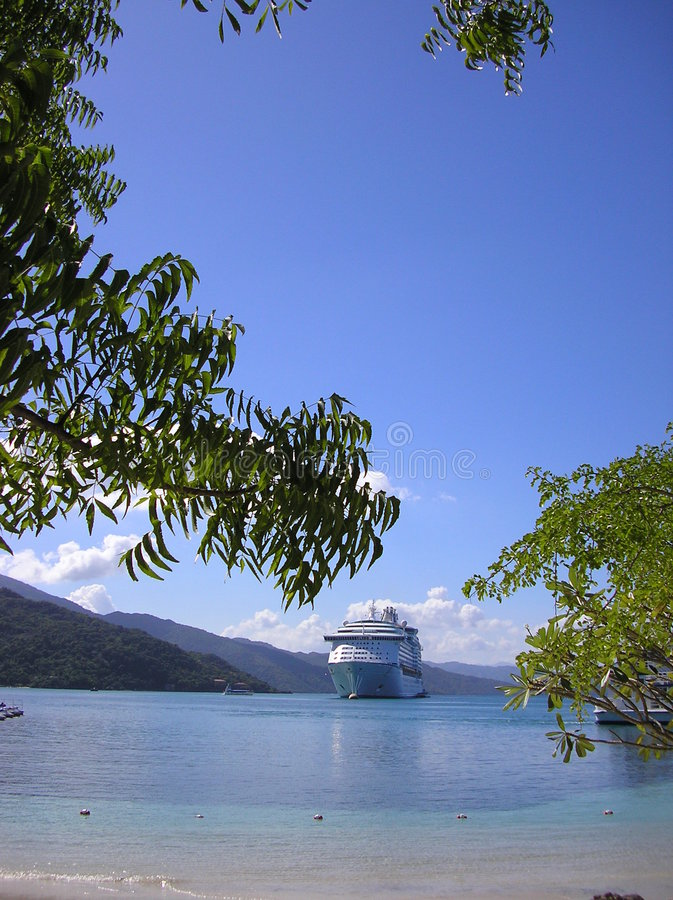 Cruise ship in harbor royalty free stock photo