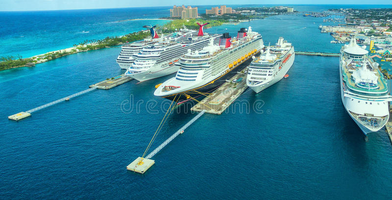 Cruise ship in harbor in the Bahamas sea stock images