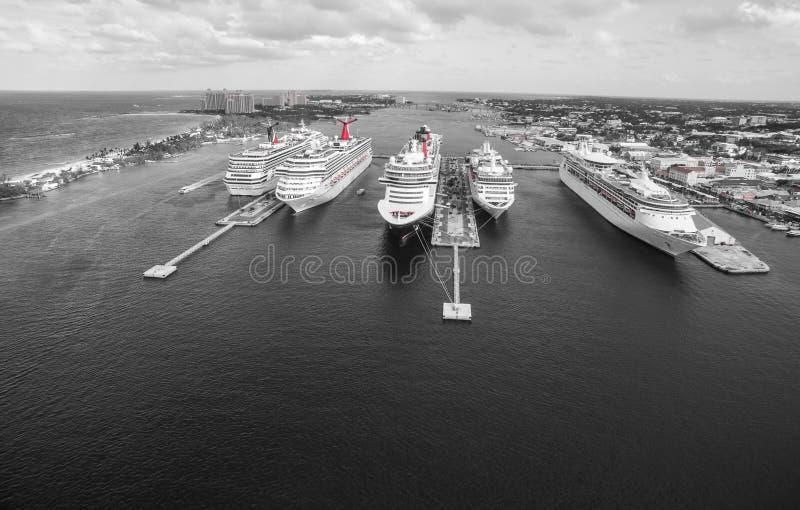 Cruise ship in harbor in the Bahamas sea royalty free stock photo